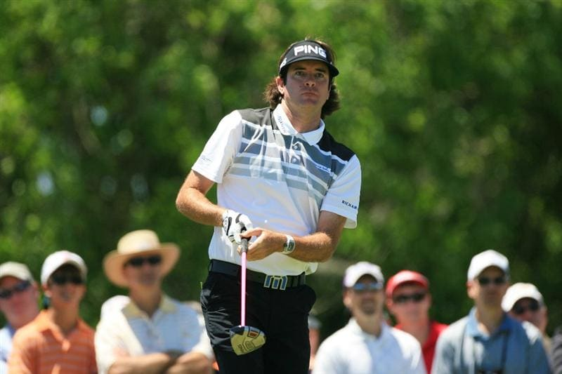 NEW ORLEANS, LA - APRIL 29: Bubba Watson watches his tee shot on the eighth hole during the second round of the Zurich Classic at the TPC Louisiana on April 29, 2011 in New Orleans, Louisiana. (Photo by Hunter Martin/Getty Images)