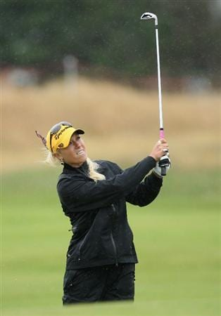 LYTHAM ST ANNES, ENGLAND - JULY 28:  Natalie Gulbis  of USA hits an approach shot during the Pro-Am prior to the 2009 Ricoh Women's British Open Championship held at Royal Lytham St Annes Golf Club, on July 28, 2009 in  Lytham St Annes, England.  (Photo by David Cannon/Getty Images)