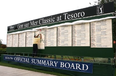A worker records the scores on the official tournament summary board during the Ginn Sur Mer Classic at Tesoro on October 25, 2007 in Port Saint Lucie, Florida. PGA TOUR - 2007 Ginn sur Mer Classic - First RoundPhoto by Doug Benc/WireImage.com