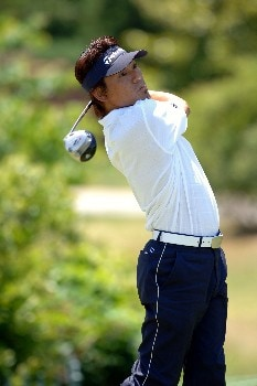 Hidemichi Tanaka tees off during Round One of The Fedex St. Jude Classic at TPC at Southwind in Memphis, Tennessee on May 26, 2005.Photo by Joe Murphy/WireImage.com