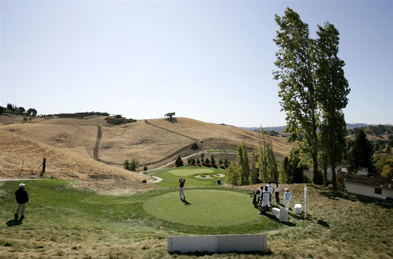 DANVILLE, CA - OCTOBER 10: Carri Wood makes a tee shot on the 16th hole during the second round of the LPGA Longs Drugs Challenge at the Blackhawk Country Club October 10, 2008 in Danville, California. (Photo by Max Morse/Getty Images)