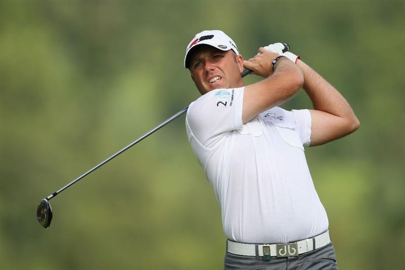 LUSS, UNITED KINGDOM - JULY 09:  Graeme Storm of England tees off on the 12th hole during the First Round of The Barclays Scottish Open at Loch Lomond Golf Club on July 09, 2009 in Luss, Scotland. (Photo by Andrew Redington/Getty Images)