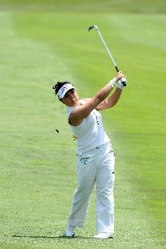 HAVRE DE GRACE, MD - JUNE 07:  Jeong Jang of South Korea hits her second shot on the par 4, first hole during the first round of the 2007 McDonald's LPGA Championship held at Bulle Rock golf course June 7, 2007 in Havre de Grace, Maryland.  (Photo by David Cannon/Getty Images)