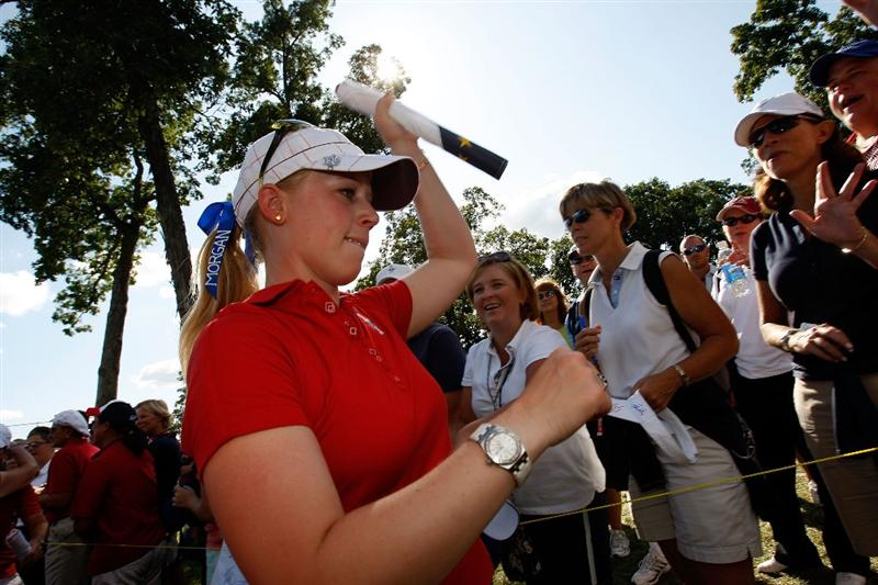 SUGAR GROVE, IL - AUGUST 23:  Morgan Pressel walks off the 18th green after the clinching the 2009 Solheim Cup for the U.S. Team against the European Team at Rich Harvest Farms on August 23, 2009 in Sugar Grove, Illinois.  (Photo by Chris Graythen/Getty Images)
