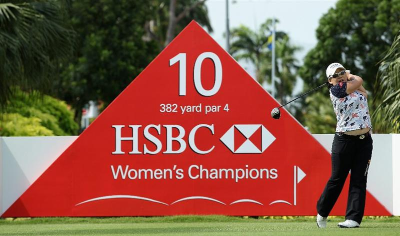 SINGAPORE - FEBRUARY 23:  Jiyai Shin of South Korea hits her tee-shot on the tenth hole during the Pro Am prior to the start of the HSBC Women's Champions at the Tanah Merah Country Club on February 23, 2011 in Singapore.  (Photo by Andrew Redington/Getty Images)