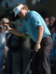 Brandt Snedeker reacts after his birdie putt on the ninth green on the South Course during the first round of the 2007 Buick Invitational at Torrey Pines Golf Course in La Jolla, California on January 25, 2007 PGA TOUR - 2007 Buick Invitational - First RoundPhoto by Steve Grayson/WireImage.com