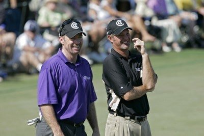 Rod Pampling (L) and Jerry Kelly during the first round of the Merrill Lynch Shootout at the Tiburon Golf Club in Naples, Florida on November 10, 2006. PGA TOUR - 2006 Merrill Lynch Shootout - First RoundPhoto by Michael Cohen/WireImage.com