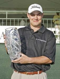 Johnson Wagner poses with the trophy after winning the Chitimacha Louisiana Open at Le Triomphe Country Club in Broussard, Louisiana on Sunday, March 26, 2006.Photo by Drew Hallowell/WireImage.com