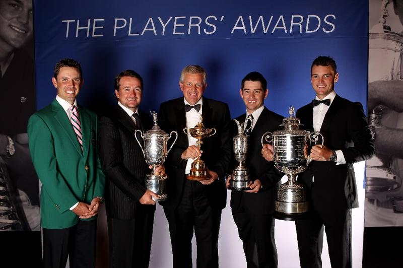 VIRGINIA WATER, ENGLAND - MAY 24:  (L-R)  Charl Schwartzel, Graeme McDowell, Colin Montgomerie, Louis Oosthuizen and Martin Kaymer pose during the European Tour Dinner at The Wentworth Club on May 24, 2011 in Virginia Water, England.  (Photo by Andrew Redington/Getty Images)