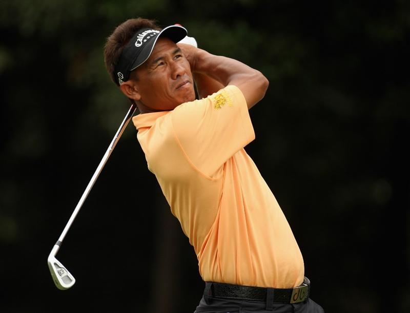 SHANGHAI, CHINA - NOVEMBER 07:  Thongchai Jaidee of Thailand on the 6th tee during the third round of the WGC - HSBC Champions at Sheshan International Golf Club on November 7, 2009 in Shanghai, China.  (Photo by Ross Kinnaird/Getty Images)