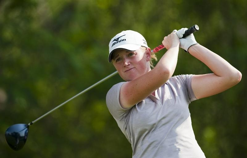 CHON BURI, THAILAND - FEBRUARY 18:  Stacy Lewis of USA tees off on the 17th hole during day two of the LPGA Thailand at Siam Country Club on February 18, 2011 in Chon Buri, Thailand.  (Photo by Victor Fraile/Getty Images)