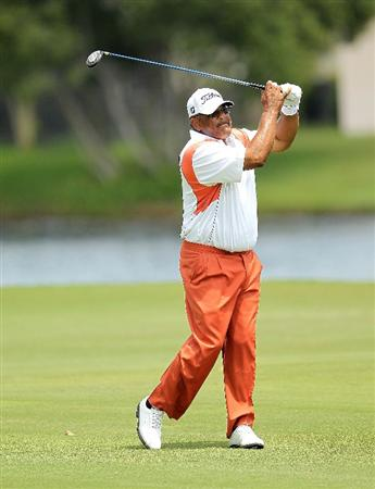 LUTZ, FL - APRIL 16:  Jim Thorpe hits his approach on the 14th hole during the second round of the Outback Steakhouse Pro-Am at the TPC of Tampa on April 16, 2011 in Lutz, Florida.  (Photo by Mike Ehrmann/Getty Images)