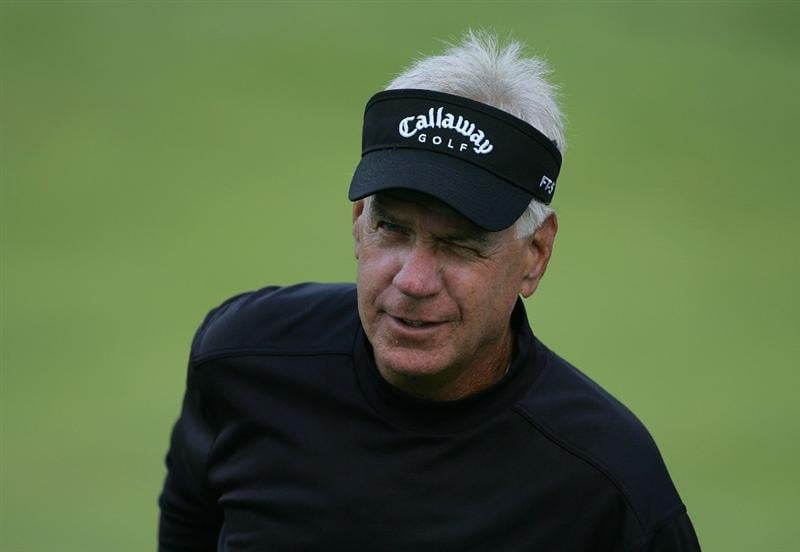 TIMONIUM, MD - OCTOBER 09:  Bruce Fleisher winks as he finishes his round of 65 tied for the lead during the first round of the Constellation Energy Senior Players Championship at Baltimore Country Club East Course held on October 9, 2008 in Timonium, Maryland  (Photo by Michael Cohen/Getty Images)