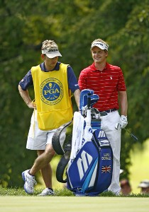 Luke Donald and his caddy during the final round of the 88th PGA Championship at Medinah Country Club in Medinah, Illinois, on August 20, 2006.Photo by Mike Ehrmann/WireImage.com
