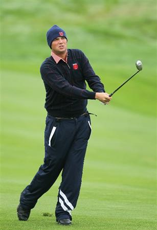 NEWPORT, WALES - SEPTEMBER 30:  Jeff Overton of the USA hits a shot during a practice round prior to the 2010 Ryder Cup at the Celtic Manor Resort on September 30, 2010 in Newport, Wales.  (Photo by Andy Lyons/Getty Images)