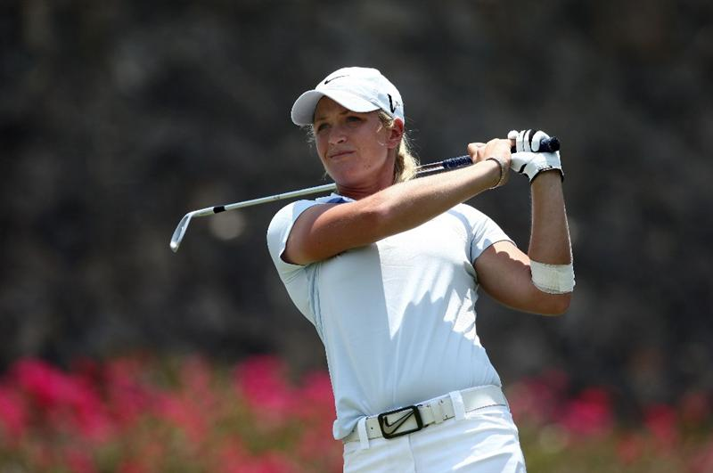 MORELIA, MEXICO- APRIL 25:  Suzann Pettersen of Norway tees off the 6th hole during the thrid round of the Corona Championship at the Tres Marias Residential Golf Club on April 25, 2009 in Morelia, Michoacan, Mexico. (Photo by Donald Miralle/Getty Images)