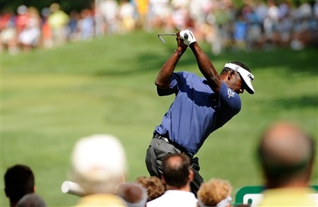 AKRON, OH - AUGUST 03:  Vijay Singh of Fiji plays a shot on the 5th hole during the final round of the WGC-Bridgestone Invitational at Firestone Country Club South Course on August 3, 2008 in Akron, Ohio.  (Photo by Sam Greenwood/Getty Images)