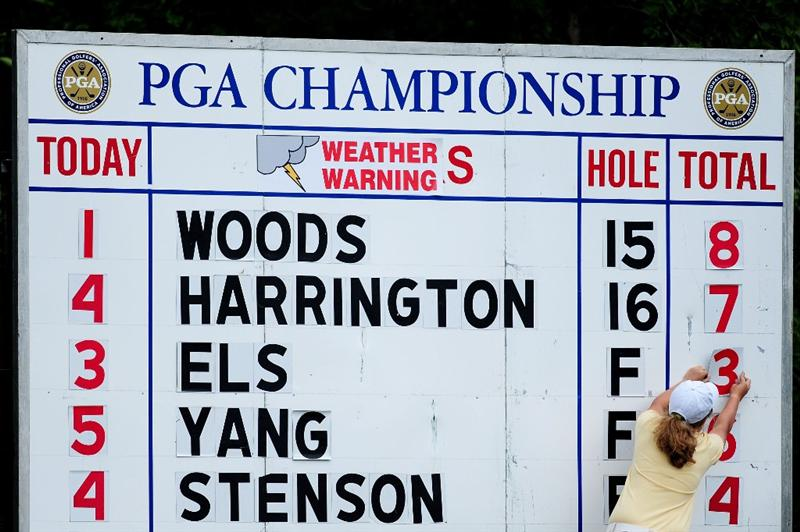 CHASKA, MN - AUGUST 15:  A weather warning sign is seen on a leaderboard during the third round of the 91st PGA Championship at Hazeltine National Golf Club on August 15, 2009 in Chaska, Minnesota.  (Photo by Stuart Franklin/Getty Images)