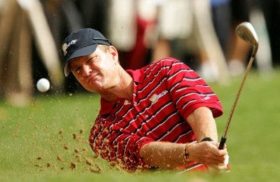 Scott Verplank of the U.S. Team hits out of the bunker on the practice range during practice prior to the start of The Presidents Cup at The Royal Montreal Golf Club on September 26, 2007 in Montreal, Quebec, Canada. PGA TOUR - 2007 The Presidents Cup - September 26, 2007Photo by Streeter Lecka/WireImage.com