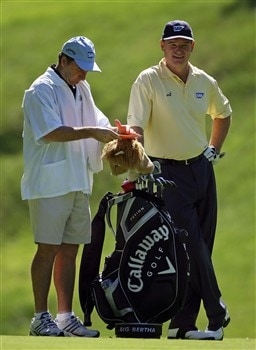 DUBLIN, OH - MAY 29:  Ernie Els of South Africa and his caddie are pictured on the 15th hole during the first round of The Memorial on May 29, 2008 at the Muirfield Village Golf Club in Dublin, Ohio.  (Photo by Andy Lyons/Getty Images)