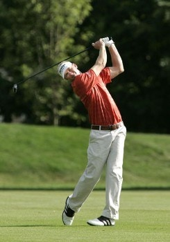 Vaughn Taylor hits his approach shot on the 6th hole during the second round of the Buick Championship at the Tournament Players Club at River Highlands in Cromwell, Connecticut on August 26, 2005.Photo by Michael Cohen/WireImage.com