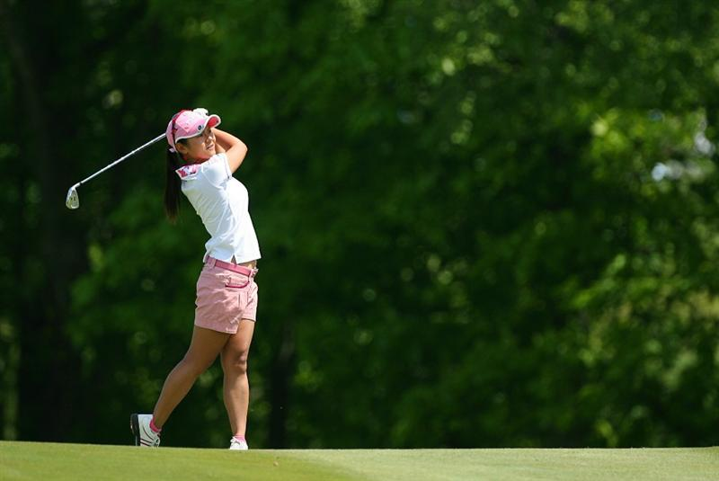 GLADSTONE, NJ - MAY 21: Ai Miyazato of Japan hits her second shot on the second hole during the second round of the Sybase Match Play Championship at Hamilton Farm Golf Club on May 21, 2010 in Gladstone, New Jersey. (Photo by Hunter Martin/Getty Images)