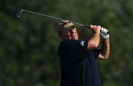 OAKVILLE, ON - JULY 26:  Mark Calcavecchia makes a tee shot during the third round of the RBC Canadian Open at the Glen Abbey Golf Club on July 26, 2008 in Oakville, Ontario, Canada.  (Photo by Robert Laberge/Getty Images)