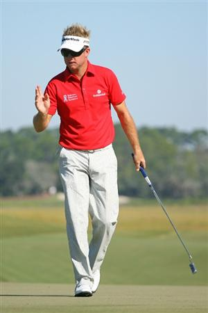 SEA ISLAND, GA - OCTOBER 8: Brian Gay reacts after making his birdie putt on the eighth hole during the second round of the McGladrey Classic at Sea Island Resort's Seaside Course on October 8, 2010 in Sea Island, Georgia. (Photo by Hunter Martin/Getty Images)