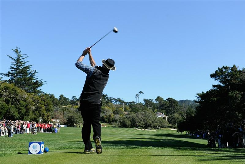 PEBBLE BEACH, CA - FEBRUARY 09:  Actor Bill Murray plays a shot during the 3M Celebrity Challenge at the AT&T Pebble Beach National Pro-Am at Pebble Beach Golf Links on February 9, 2011  in Pebble Beach, California.  (Photo by Stuart Franklin/Getty Images)
