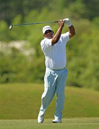 LUTZ, FL - APRIL 17:  Jim Thorpe hits his tee  shot on the  fifth hole during the final round of the Outback Steakhouse Pro-Am at the TPC of Tampa on April 17, 2011 in Lutz, Florida.  (Photo by Mike Ehrmann/Getty Images)