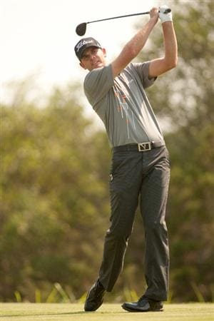 SAN ANTONIO, TX - APRIL 16: Brendan Steele follows through on a tee shot during the third round of the Valero Texas Open at the AT&T Oaks Course at TPC San Antonio on April 16, 2011 in San Antonio, Texas. (Photo by Darren Carroll/Getty Images)