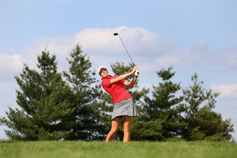 SPRINGFIELD, IL - JUNE 05:  Anja Monke of Germany hits a tee shot on the 17th hole during the second round of the LPGA State Farm Classic golf tournament at Panther Creek Country Club on June 5, 2009 in Springfield, Illinois.  (Photo by Christian Petersen/Getty Images)