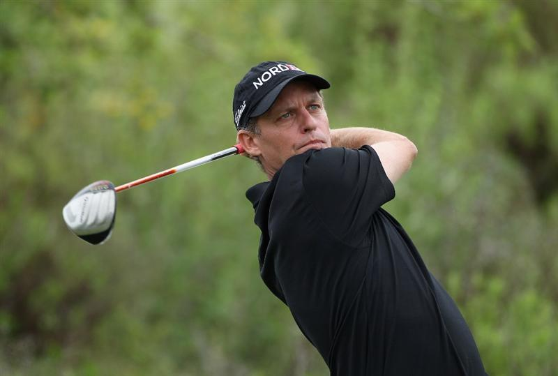 CASARES, SPAIN - MAY 20:  Anders Hansen of Denmark tees off on the third hole during the group stages of the Volvo World Match Play Championships at Finca Cortesin on May 20, 2011 in Casares, Spain.  (Photo by Warren Little/Getty Images)