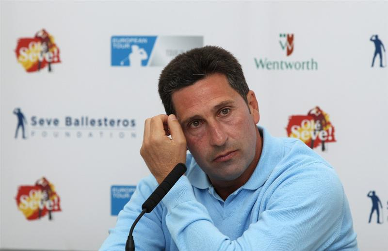 VIRGINIA WATER, ENGLAND - MAY 23:  Jose Maria Olazabal of Spain talks to the media during a press conference for the 'Ole Seve' Pro-Am in aid of the Seve Ballesteros Foundation at Wentworth Club on May 23, 2011 in Virginia Water, England.  (Photo by Richard Heathcote/Getty Images)