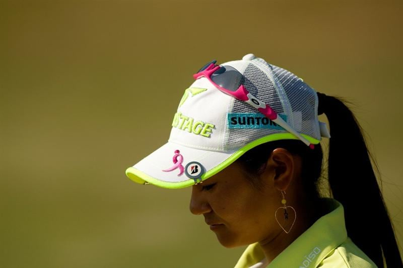 PRATTVILLE, AL - OCTOBER 8: Ai Miyazato of Japan wears an embroidered pink bow on her hat to commemorate Breast Cancer Awareness Month during the second round of the Navistar LPGA Classic at the Senator Course at the Robert Trent Jones Golf Trail  on October 8, 2010 in Prattville, Alabama. (Photo by Darren Carroll/Getty Images)