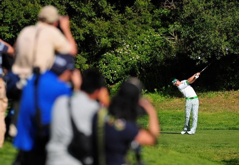 PACIFIC PALISADES, CA - FEBRUARY 20:  Ryo Ishikawa of Japan plays his tee shot on the 13th hole during the second round of the Northern Trust Open at the Riviera Country Club February 20, 2009 in Pacific Palisades, California.  (Photo by Stuart Franklin/Getty Images)