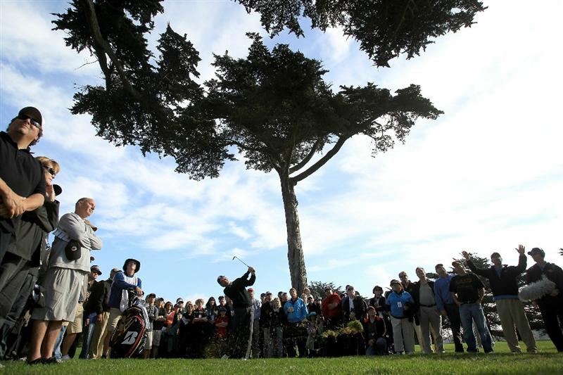SAN FRANCISCO - NOVEMBER 06:  Fred Couples hits his second shot on the 16th hole out of the rough during round 3 of the Charles Schwab Cup Championship at Harding Park Golf Course on November 6, 2010 in San Francisco, California.  (Photo by Ezra Shaw/Getty Images)