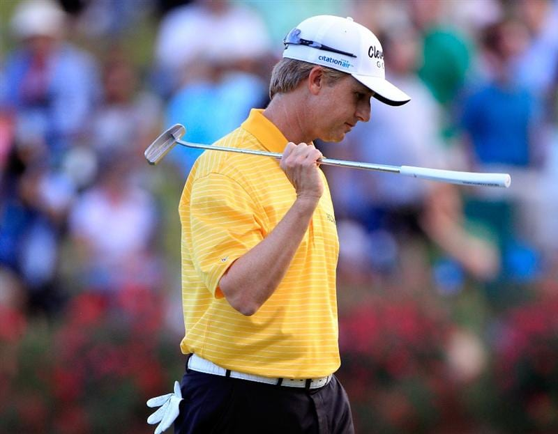 PONTE VEDRA BEACH, FL - MAY 15:  David Toms reacts after missing a par putt on the first playoff hole during the final round of THE PLAYERS Championship held at THE PLAYERS Stadium course at TPC Sawgrass on May 15, 2011 in Ponte Vedra Beach, Florida.  (Photo by Sam Greenwood/Getty Images)