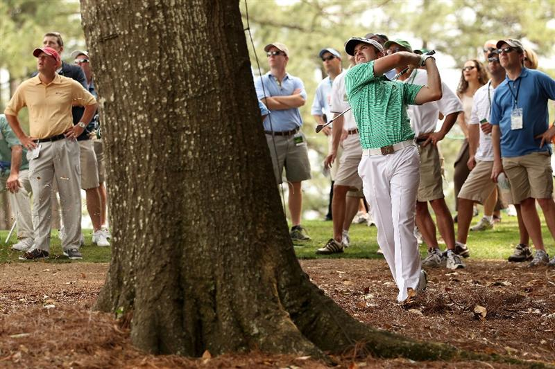 AUGUSTA, GA - APRIL 08:  Martin Laird of Scotland hits from the rough on the eighth hole during the second round of the 2011 Masters Tournament at Augusta National Golf Club on April 8, 2011 in Augusta, Georgia.  (Photo by Andrew Redington/Getty Images)