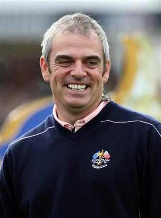 NEWPORT, WALES - SEPTEMBER 30:  Vice captain Paul McGinley of Europe waits on a tee box during a practice round prior to the 2010 Ryder Cup at the Celtic Manor Resort on September 30, 2010 in Newport, Wales.  (Photo by Ross Kinnaird/Getty Images)