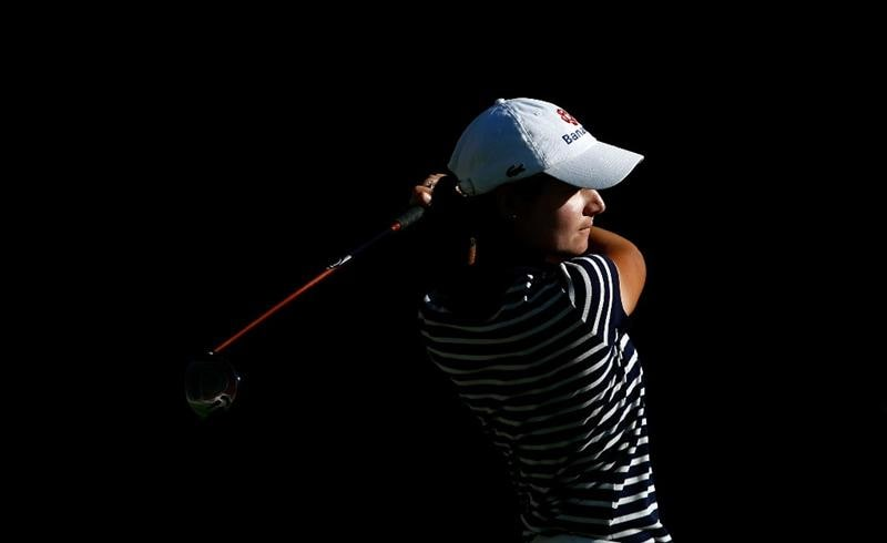 DANVILLE, CA - SEPTEMBER 25:  Lorena Ochoa tees off on the 14th hole during the second round of the CVS/pharmacy LPGA Challenge at Blackhawk Country Club on September 25, 2009 in Danville, California.  (Photo by Jonathan Ferrey/Getty Images)