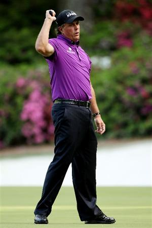 AUGUSTA, GA - APRIL 07:  Phil Mickelson reacts to a missed putt on the 13th hole during the first round of the 2011 Masters Tournament at Augusta National Golf Club on April 7, 2011 in Augusta, Georgia.  (Photo by Andrew Redington/Getty Images)