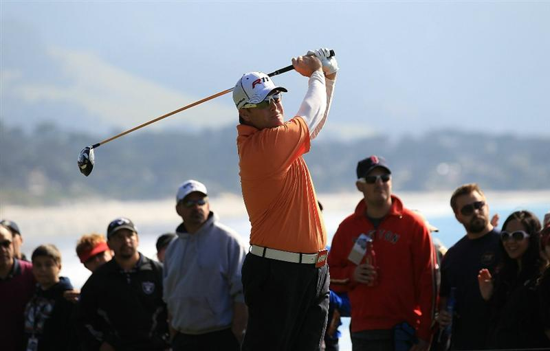 PEBBLE BEACH, CA - FEBRUARY 13:  D.A. Points tees off from the 15th hole at the AT&T Pebble Beach National Pro-Am- Final Round at the Pebble Beach Golf Links on February 13, 2011 in Pebble Beach, California.  (Photo by Jed Jacobsohn/Getty Images)