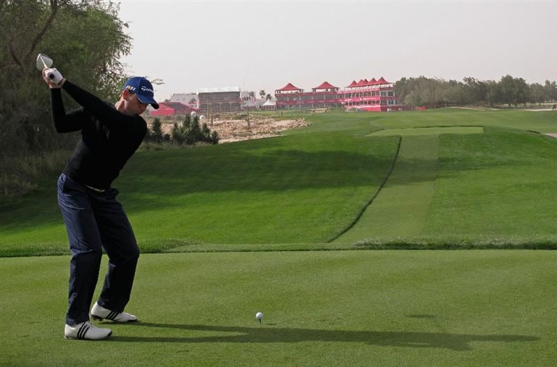 DOHA, QATAR - FEBRUARY 03:  Sergio Garcia of Spain hits his tee-shot on the 18th hole during the first round of the Commercialbank Qatar Masters held at Doha Golf Club on February 3, 2011 in Doha, Qatar.  (Photo by Andrew Redington/Getty Images)