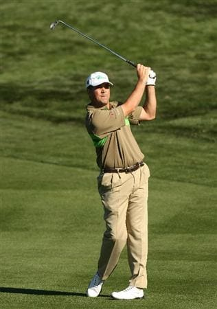 SCOTTSDALE, AZ - JANUARY 31:  Brad Adamonis hits his second shot on the second hole during the third round of the FBR Open on January 31, 2009 at TPC Scottsdale in Scottsdale, Arizona.  (Photo by Stephen Dunn/Getty Images)