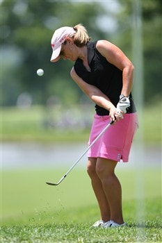 ROGERS, AR - JULY 6:  Kristy McPherson chips onto the 8th green during the final round of the P&G Beauty NW Arkansas Championship presented by John Q. Hammons on July 6, 2008 at Pinnacle Country Club in Rogers, Arkansas. (Photo by G. Newman Lowrance/Getty Images)