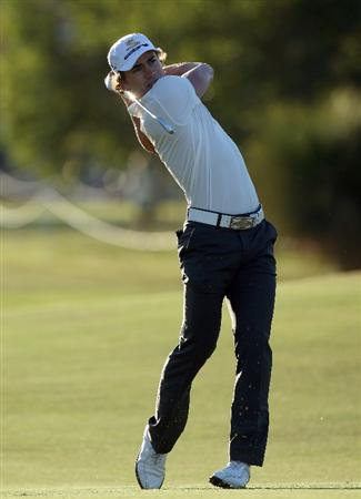 PERTH, AUSTRALIA - FEBRUARY 19:  Camilo Villegas of Colombia hits his second shot at the 10th hole during the first round of the 2009 Johnnie Walker Classic tournament at the Vines Resort and Country Club, on 19 February 2009, in Perth, Australia  (Photo by David Cannon/Getty Images)