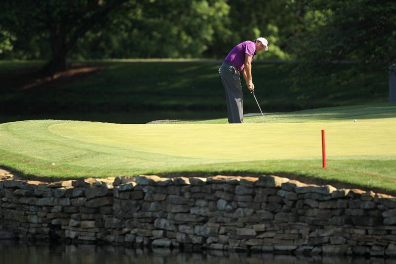 CHARLOTTE, NC - MAY 05:  Phil Mickelson putts the ball on the 17th hole during the first round of the Wells Fargo Championship at Quail Hollow Club on May 5, 2011 in Charlotte, North Carolina.  (Photo by Streeter Lecka/Getty Images)