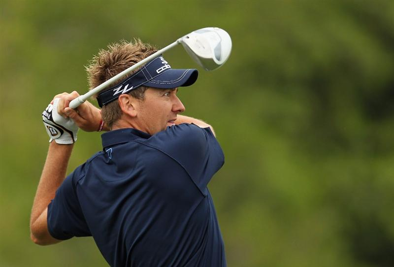 DORAL, FL - MARCH 10:  Ian Poulter of England hits his tee shot on the third hole during the first round of the 2011 WGC- Cadillac Championship at the TPC Blue Monster at the Doral Golf Resort and Spa on March 10, 2011 in Doral, Florida.  (Photo by Mike Ehrmann/Getty Images)