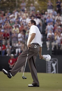 Bart Bryant celebrates after sinking a putt on the 18th green to win THE TOUR Championship at East Lake Golf Club in Atlanta, Georgia on November 6, 2005.Photo by Hunter Martin/WireImage.com